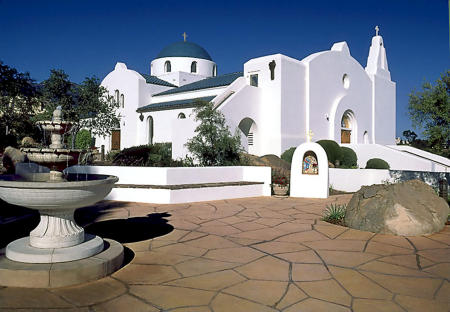 Architecture of Greek orthodox Church, Santa Barbara, CA