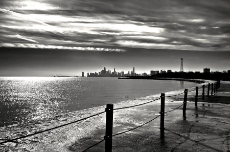 Chicago Lakefront view looking South in Winter
