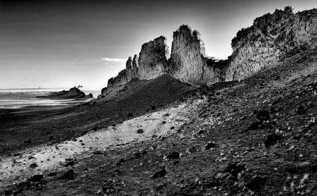 Revealed  lava dike at  Shiprock, AZ